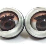 זוג עיניים לבובות ממצמצות, חומות, 16ממ